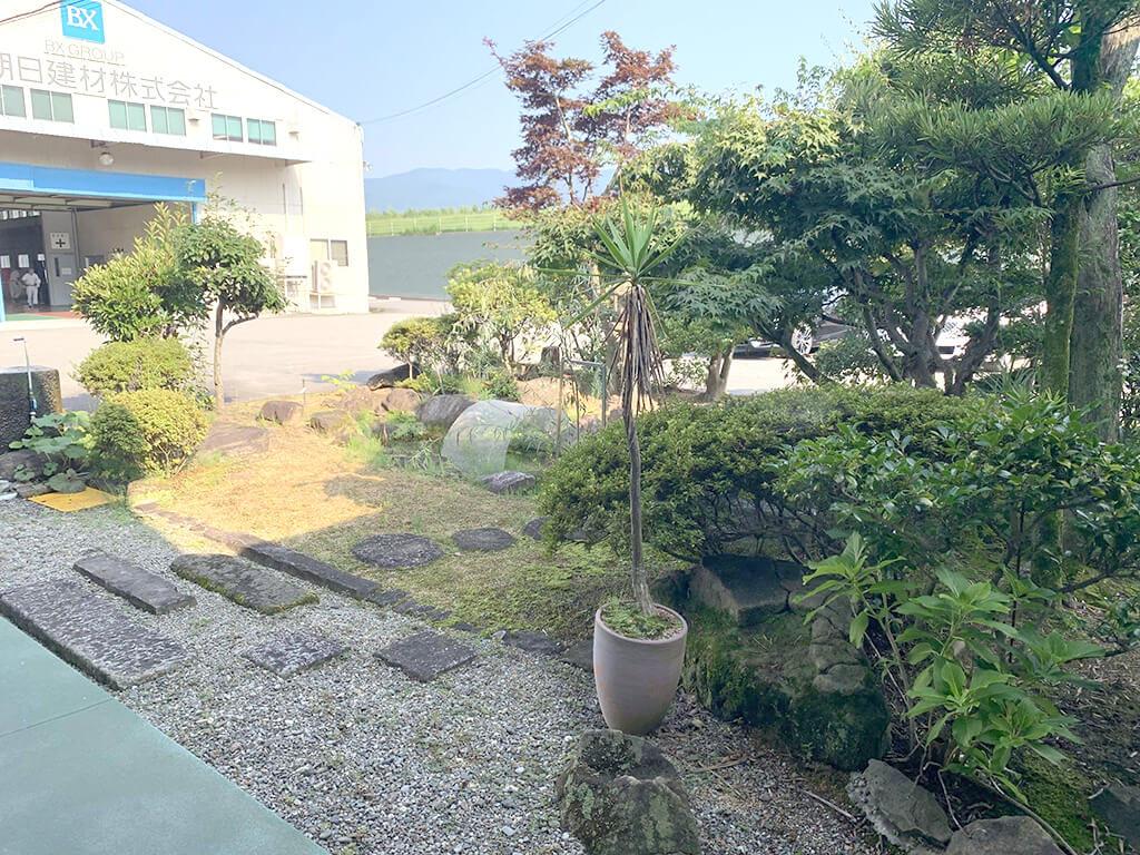 草木が青い中庭
